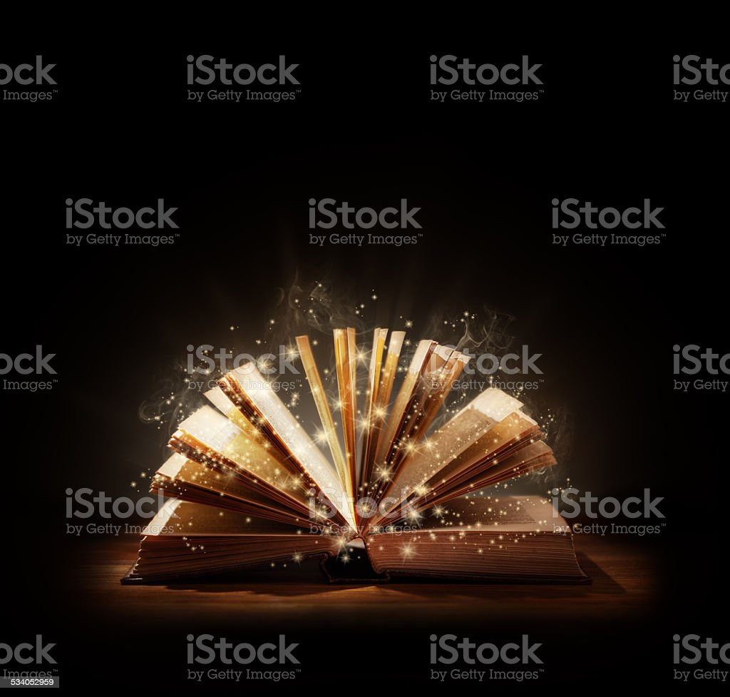 Magical book or bible stock photo
