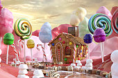 Magical Candy Land scene with a ginger bread house, 3d render.