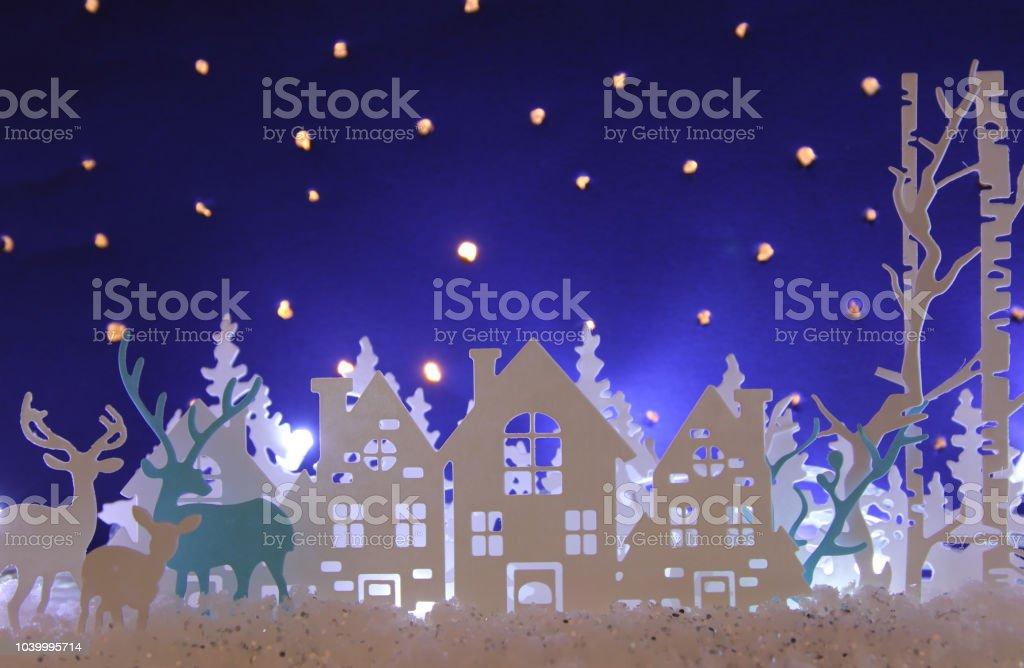 Magische Weihnachten Papier Geschnittenen Winter Hintergrund ...