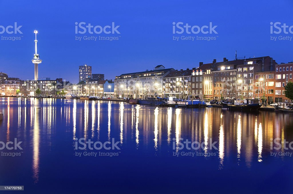 Magical Cityscape of Rotterdam at Dusk royalty-free stock photo