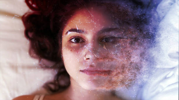 magical disintegrating face without makeup - disintegrate stock pictures, royalty-free photos & images
