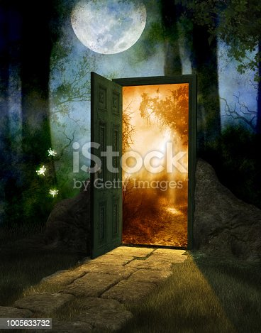 Magical fairy wood at night and full moon with a door into a new world, 3d render