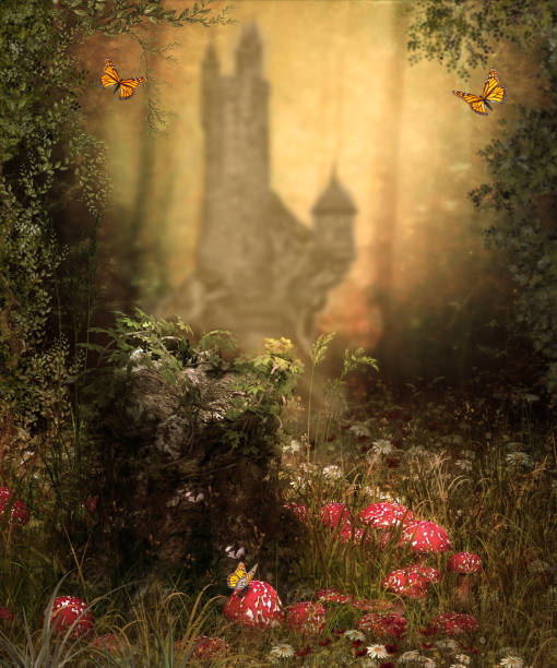 Magical Fairy Woods Castle stock photo