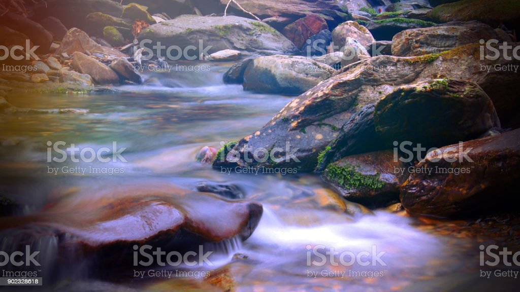 Magical Fantasy Sunlight Colorful Shinning over a Creek or River in the Smoky Mountain Forest stock photo