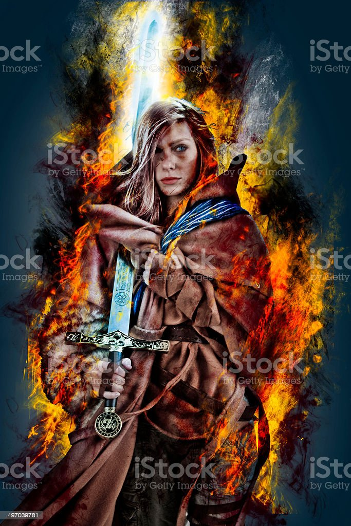 Magical Girl on Fire stock photo
