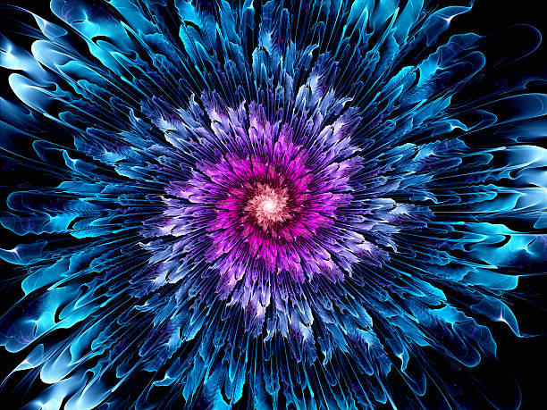 Magical glowing space fractal flower stock photo