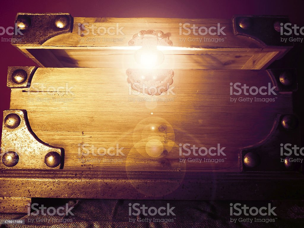 Magical Glowing Treasure Chest stock photo