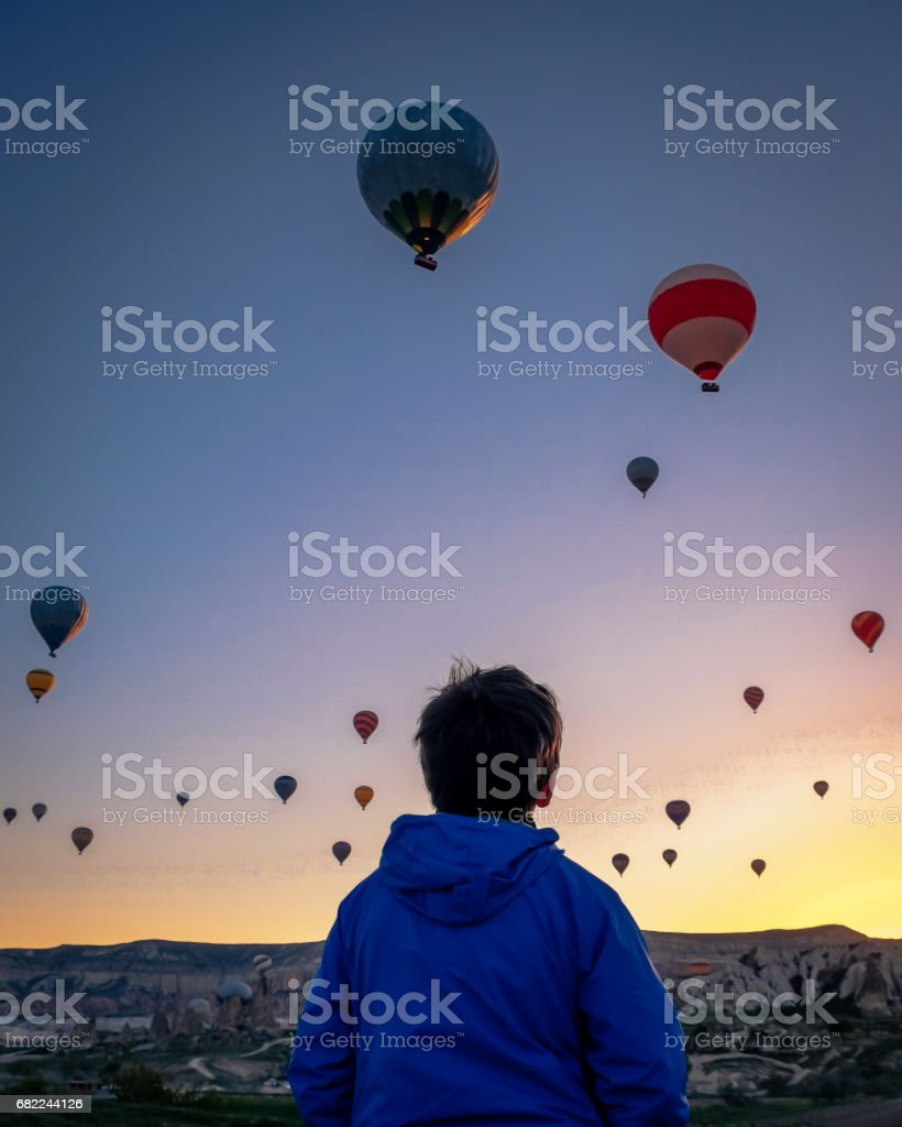 Magical hot air balloons stock photo