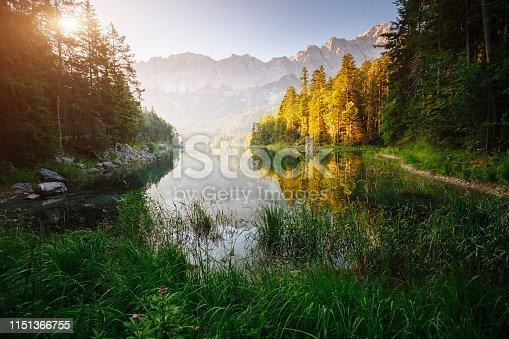 Famous lake Eibsee the best outdoor adventure vacation destinations. Wonderful day gorgeous scene. Location resort Garmisch-Partenkirchen Bavarian alp, sightseeing Europe. Explore the world's beauty.