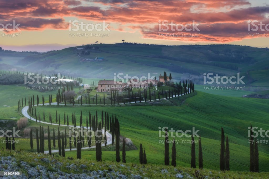 Magical journey fields of Tuscany stock photo