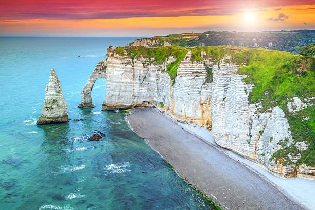 Magical la Manneporte natural rock arch wonder,Etretat,Normandy,France stock photo