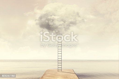 istock magical ladder rises up into the sky toward a soft cloud 825257782