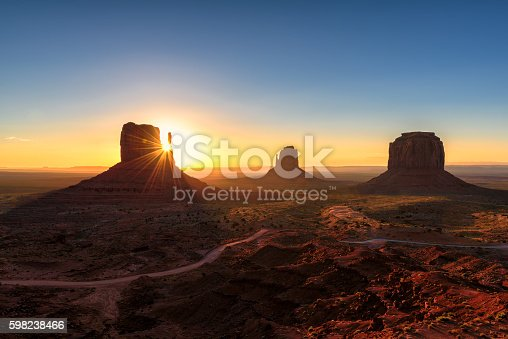 istock Magical landscape Monument Valley at Sunrise in Arizona 598238466