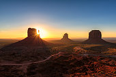 Magical landscape Monument Valley at Sunrise in Arizona