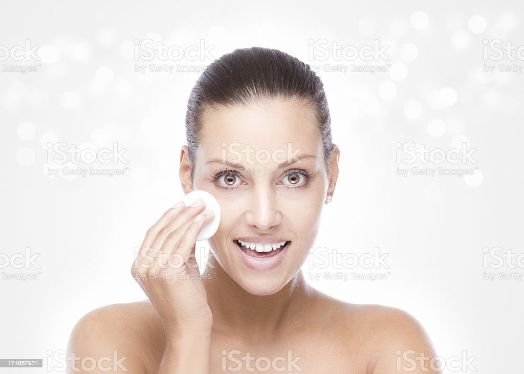 Magical make up remover on silver background stock photo