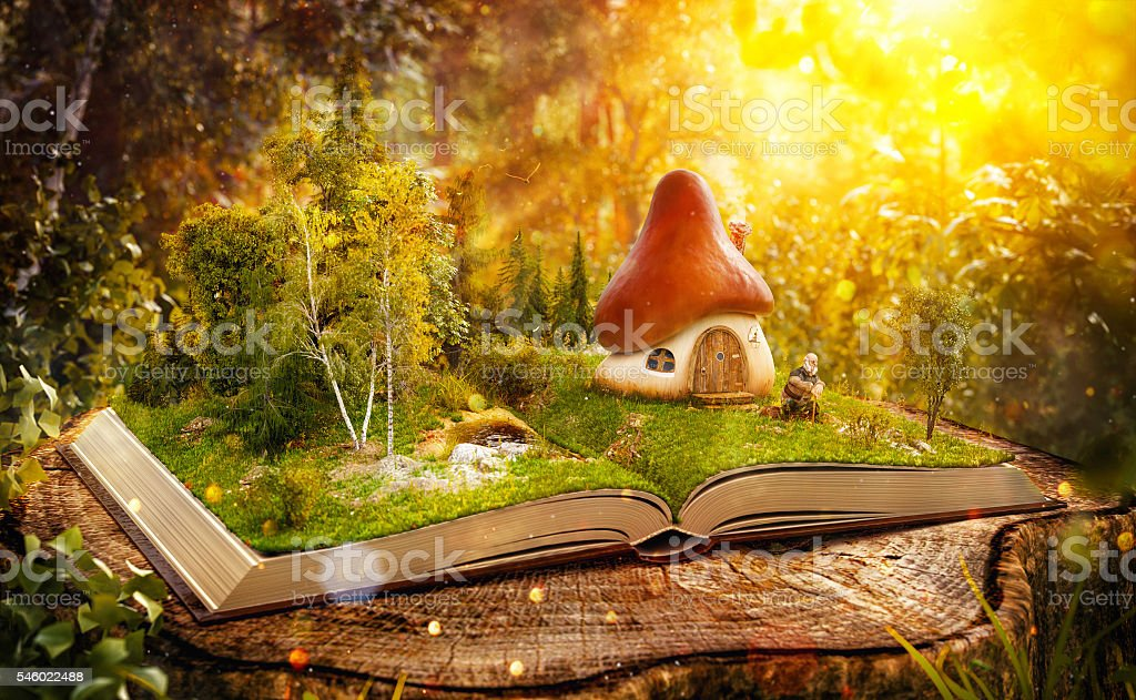 Magical mushroom house stock photo