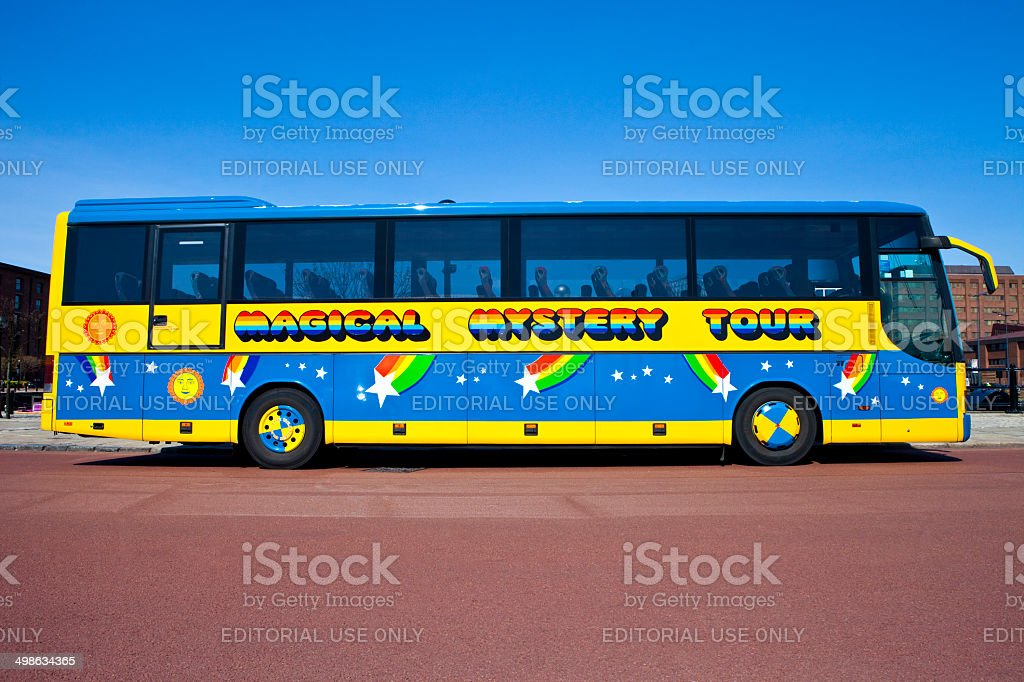Magical Mystery Tour Bus in Liverpool stock photo
