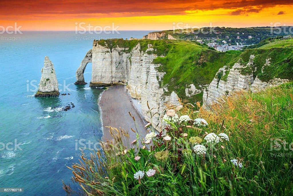 Magical natural rock arch wonder,Etretat,Normandy,France stock photo
