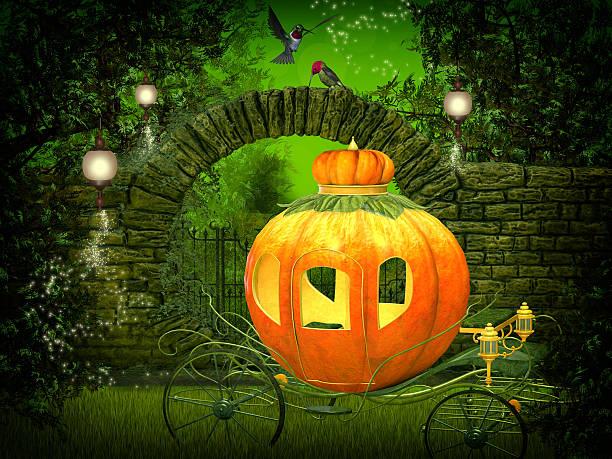 magical  night, pumpkin carriage stock photo