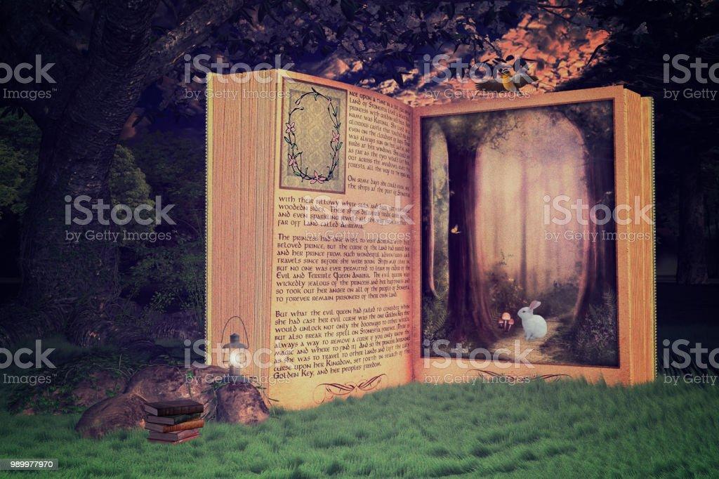 Magique livre ouvert dans la forêt, livre mène en un lieu magique, rendu 3d. photo libre de droits