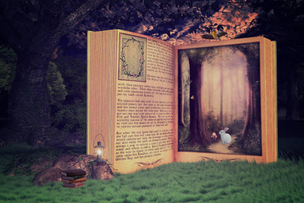 magical open storybook in the forest, book is leading into a magical place, 3d render. - fairy tale stock pictures, royalty-free photos & images