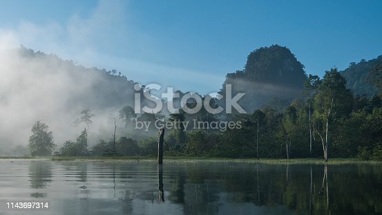 Fog on mountains and trees. Mysterious tropical lake