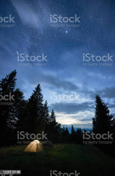 Photo of Magical starry night at a campsite in the mountains during summer time