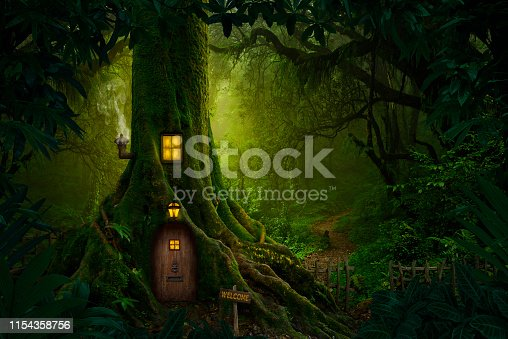Magical story forest with small house
