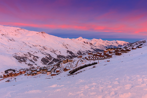Magical sunrise and ski resort in the French Alps,Europe