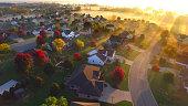 istock Magical sunrise over sleepy, foggy neighborhood 622008430