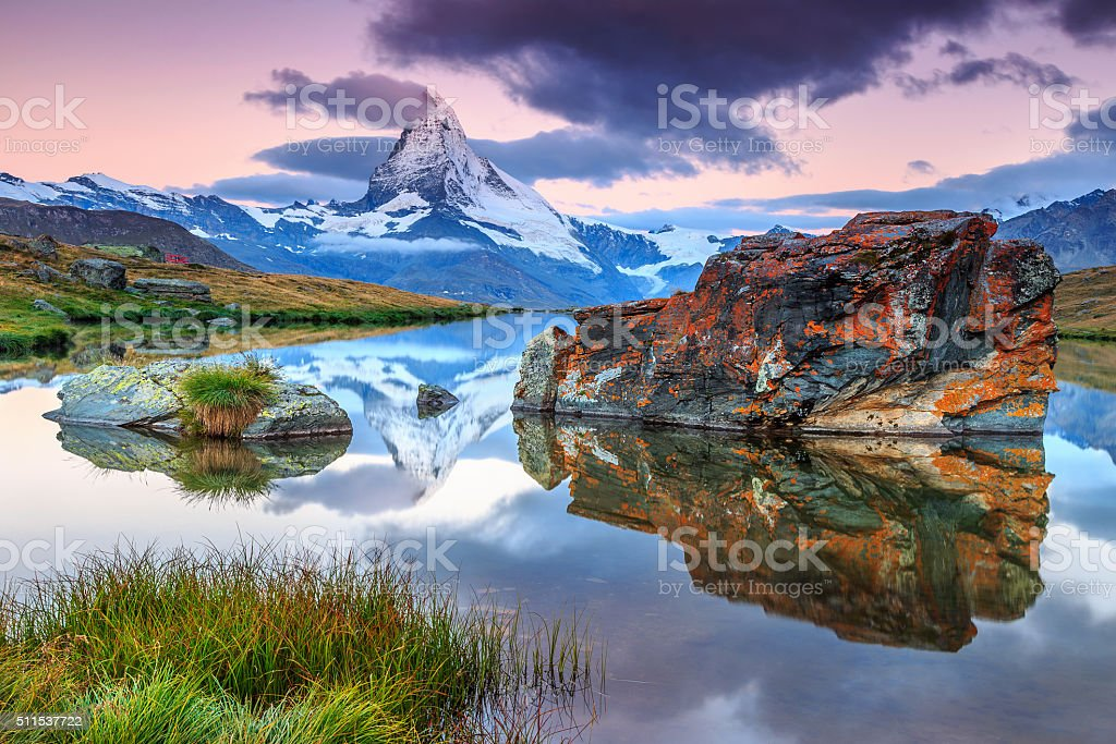 Magical sunrise with Matterhorn peak and Stellisee lake,Valais,Switzerland stock photo