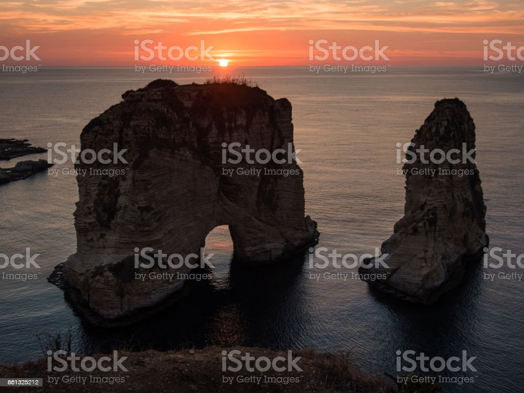 Magical sunset on Raouche, Pigeons' Rock. In Beirut, Lebanon stock photo