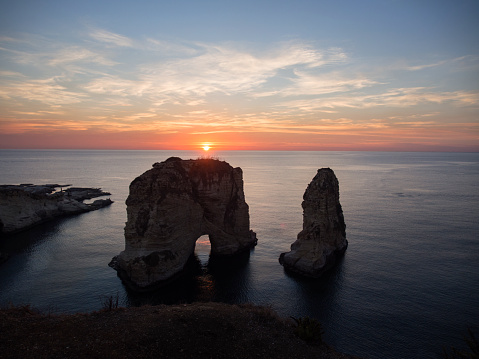 istock Magical sunset on Raouche, Pigeons' Rock. In Beirut, Lebanon 861338324