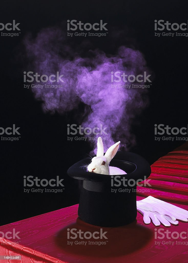 Magical Top Hat with White Rabbit royalty-free stock photo