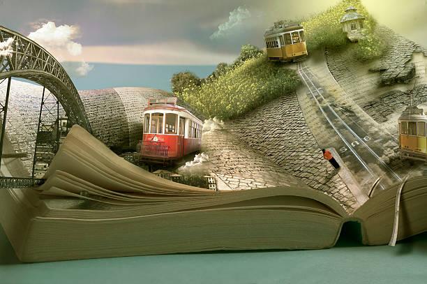 magische reise buchen, straßenbahnen und gemeinden.  dimensionale seite öffnen - schnell lesen lernen stock-fotos und bilder