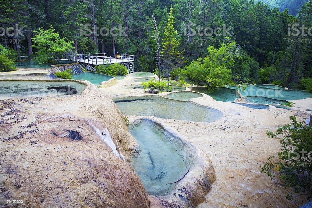 magical travertine ponds stock photo