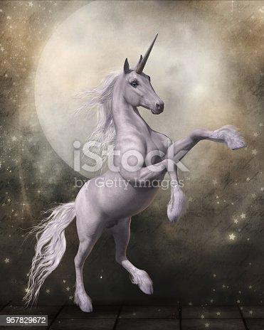 istock Magical Unicorn with Fairytale Moon 957829672