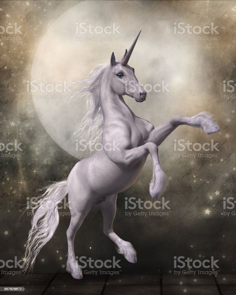 Magical Unicorn with Fairytale Moon stock photo