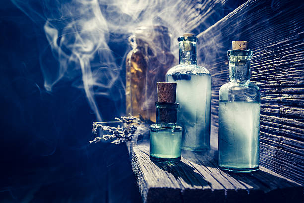 Magical witch lab with blue light and potion for Halloween – Foto