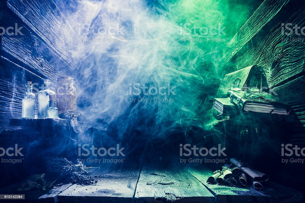 Magical witcher cottage with copy space for Halloween stock photo