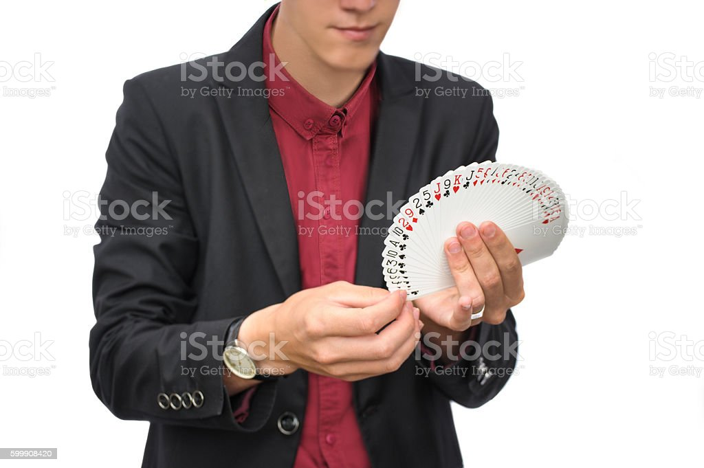 Magician and illusionist stock photo