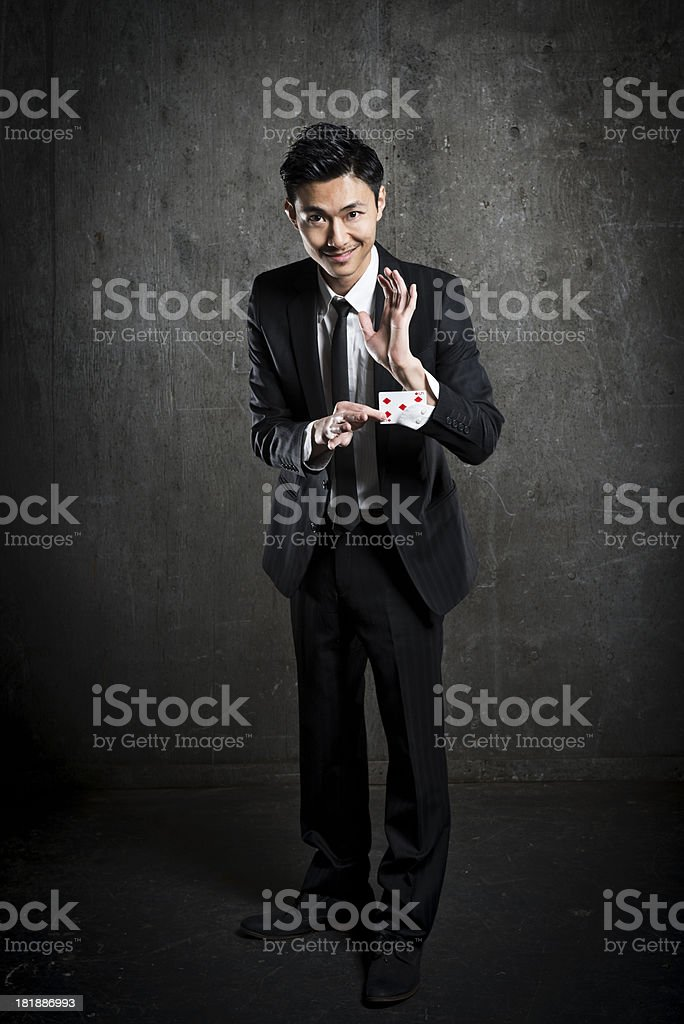 Magician Card trick royalty-free stock photo