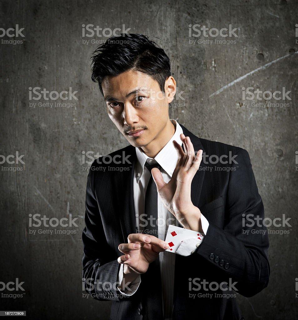 Magician Card Trick stock photo