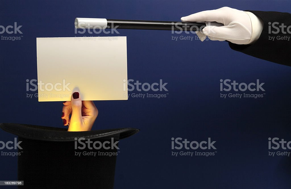 Magician Conjures Blank Note Card royalty-free stock photo