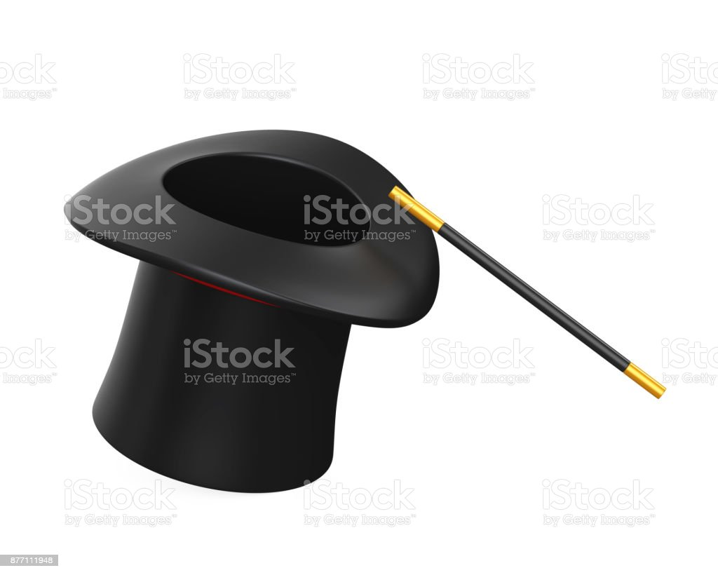 Magician Hat and Magic Wand Isolated stock photo