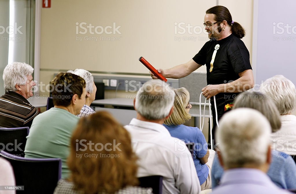 Magician Performing Trick stock photo