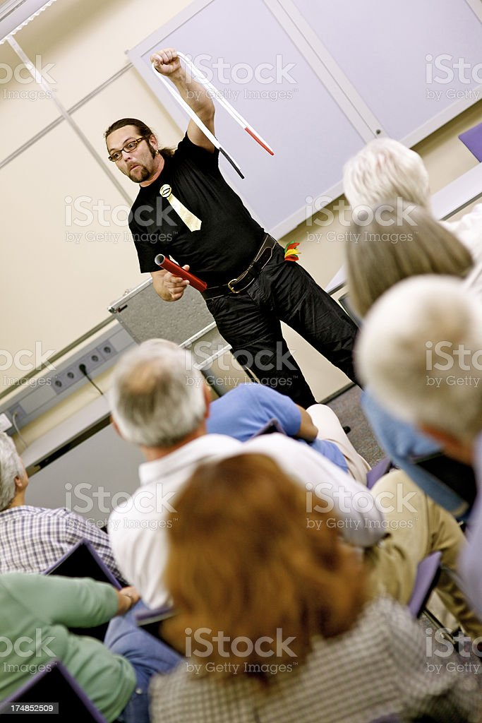 Magician Performing Trick With Rope royalty-free stock photo