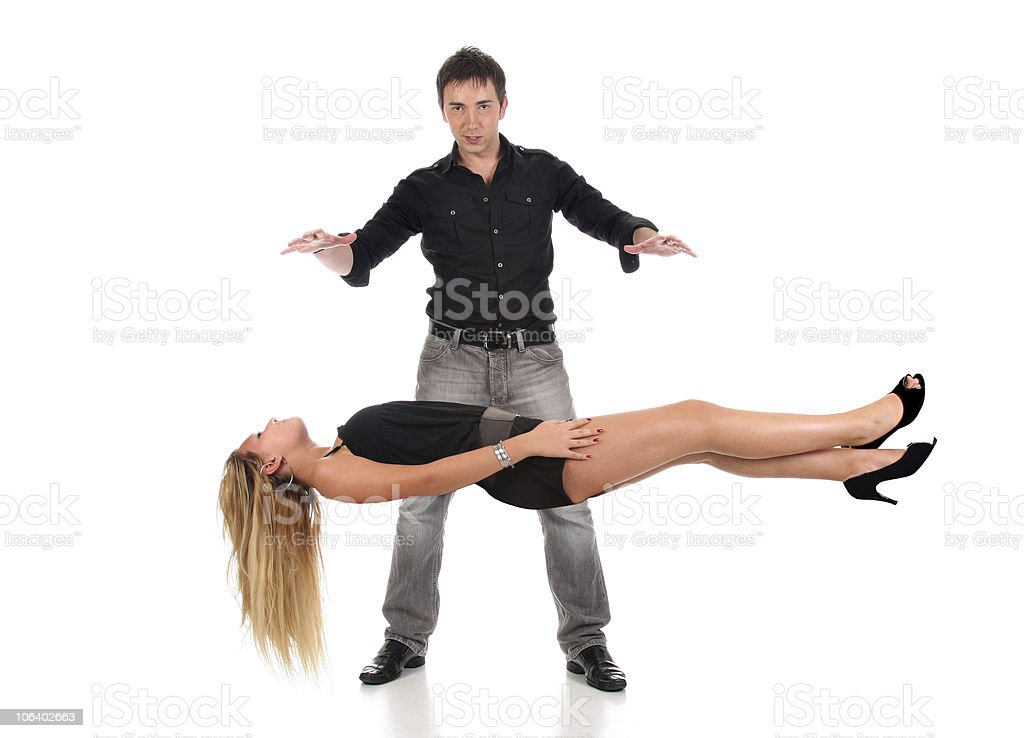 Magician performs magic with beauty girls in air royalty-free stock photo