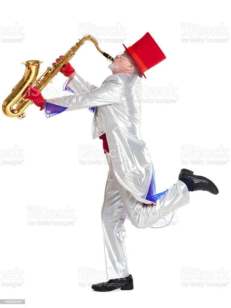 magician plays the trumpet stock photo