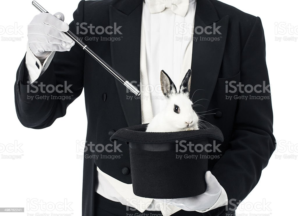 Magician top hat trick with rabbit stock photo